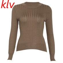 цены на Women Threaded Knit Sweater Basic Long Sleeve Round Neck Pullover Tops Jumper в интернет-магазинах