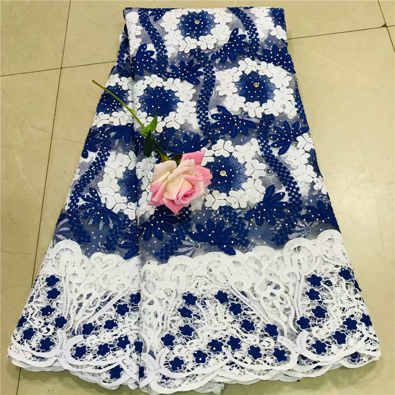 Nigeria Lace Fabric 2019 High Quality Embroidered Swiss Voile Lace With Stones African Cotton Fabric For