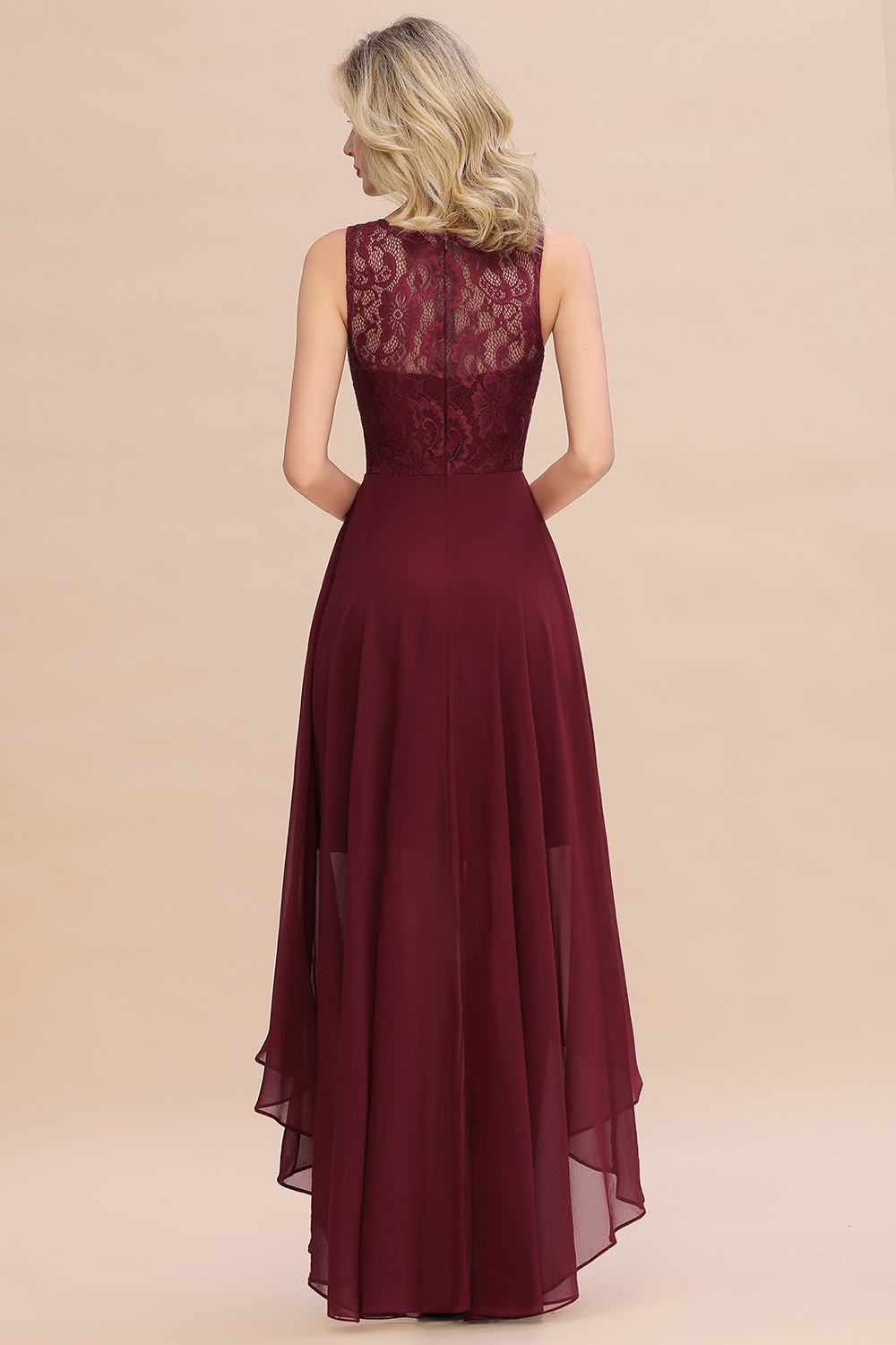 Burgundy Chiffon Long Bridesmaid Dresses 2019 High Low Wedding Party Guest Gown Scoop Neck Sleeveless vestido madrinha in Bridesmaid Dresses from Weddings Events