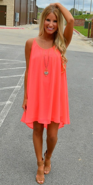 Chiffon Summer Neon Dress