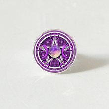 Triple Moon Goddess Pentagram ring Witch Jewelry Glass Dome Witchcraft ring Glamour Weika ring triple moon