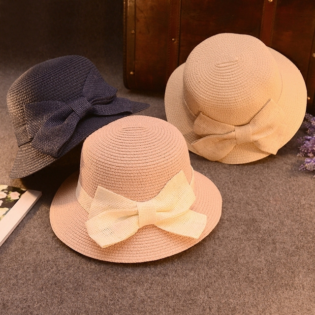 fd3e78ad34d 2016 New Korean Ladies Summer Hat Sun Visor Female Beach Hat Bow Straw Cap  Flat Folding