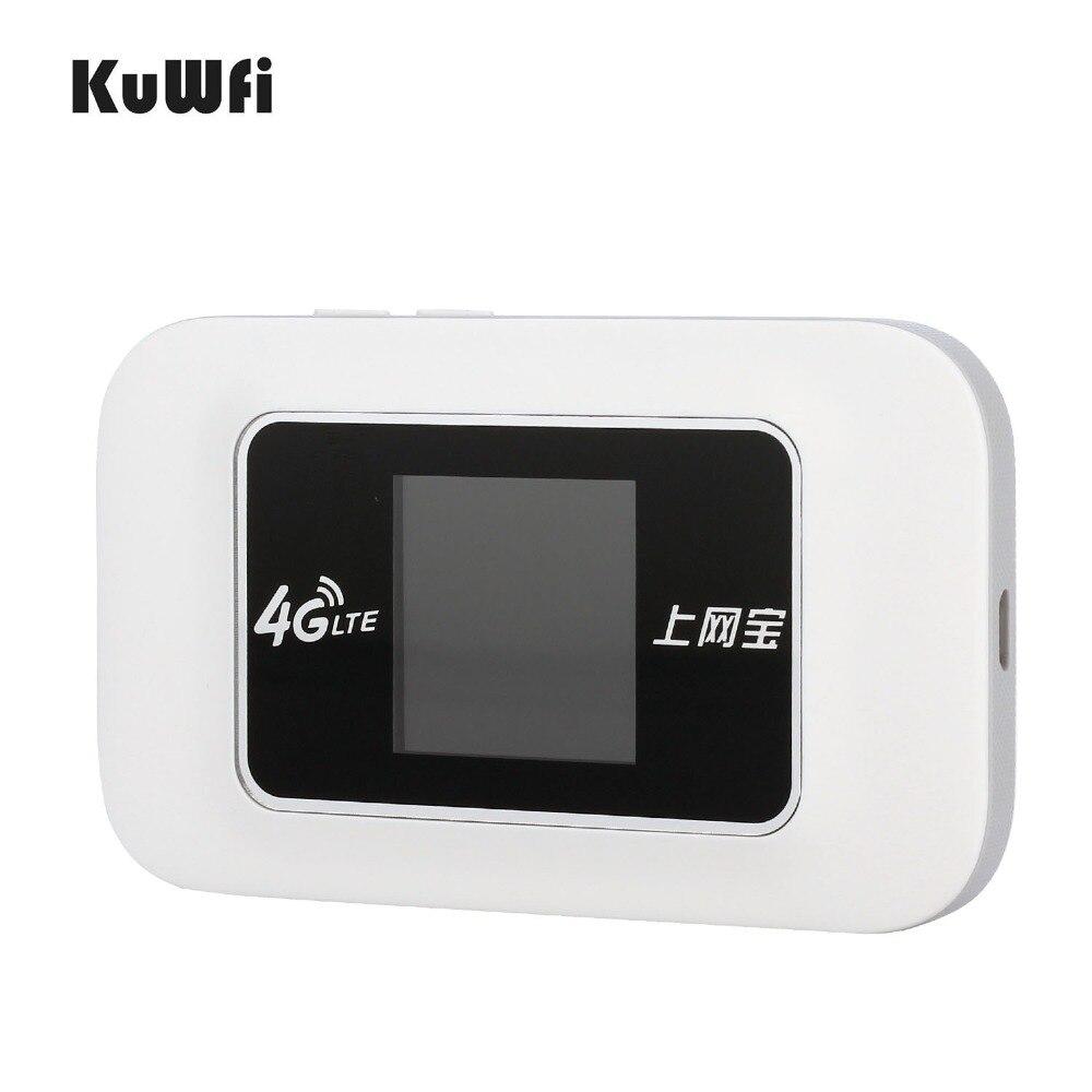 KuWFi Car Unlocked 100Mbps Mini 4G WIFI Router Wireless LTE Router Mobile WiFi Hotspot 3G 4G WiFi Router With SIM Card Slot 3g 4g sim card router 2 4g 5g dual band 802 11ac gigabit openwrt router wifi built in mini pci e slot sata 3 0 1200mbps hot sale
