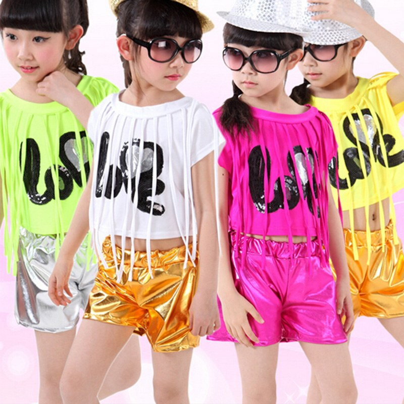 Girls Stage Performance Costume Children's Set Fashion Jazz Dance Costumes Hip Hop Dancewear Tassels Top + Shorts new kids dancewear set boys girls sequined stage performance costume modern jazz hip hop dance wear top