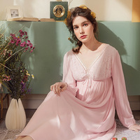 Retro Palace Sleeping Skirt V neck Lace Cotton Long Sleeve Princess Sleepwear Women Night Dress Plus Size Nightgowns Sleep Dress
