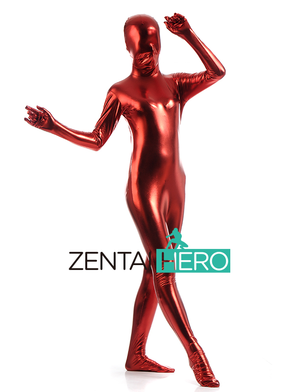 Free Shipping DHL Full Body Lady Shiny Metallic Halloween Costumes Zentai Suit Sexy Women's Red Color Back Zipper SHS101
