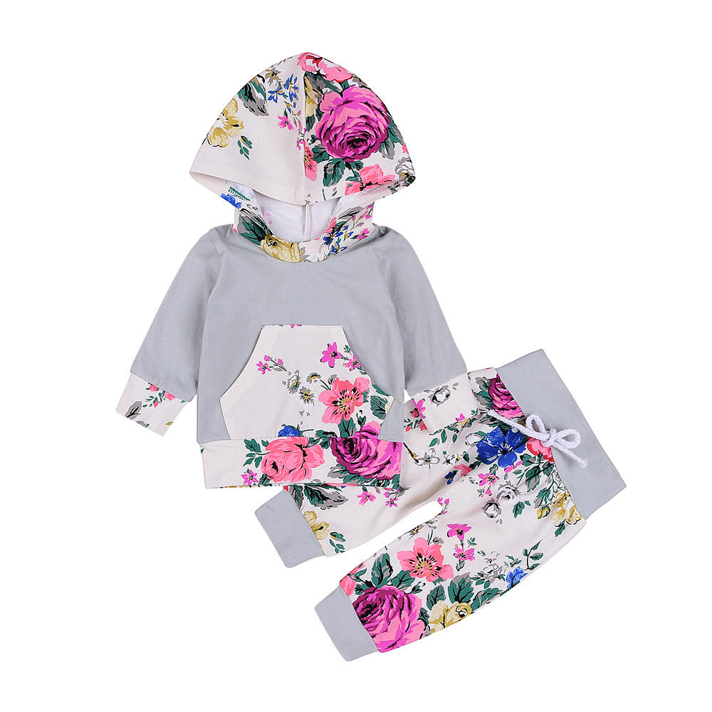 US Stock Newborn Baby Boy Girl Floral Hooded Tops Pants baby girl baby girl clothes Outfits Set Clothes