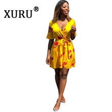 XURU summer new sexy temperament womens print dress street hipster V-neck irregular flower