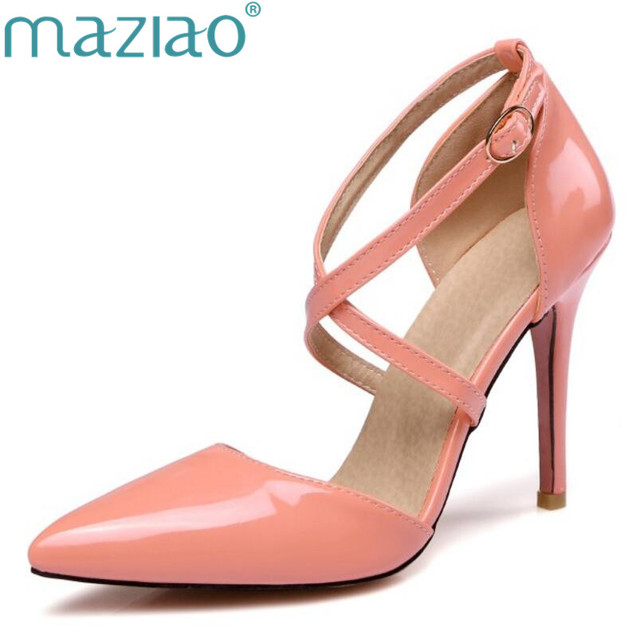 4039ef82dde MAZIAO Sexy Point Toe Patent High Heels Pumps Shoes 2017 Newest Woman s Red  Sandals Heels Shoes Wedding Shoes 10cm candy color