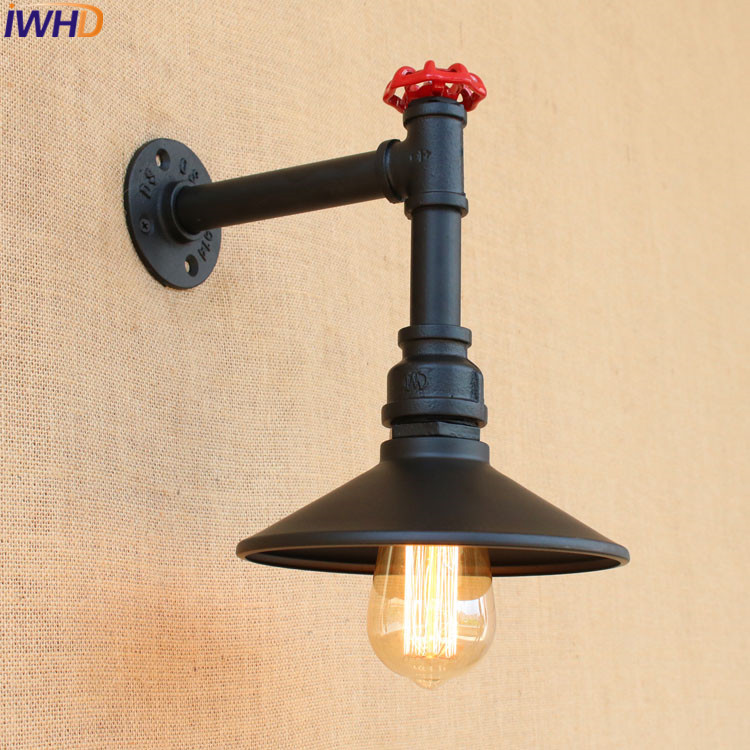 Nordic Style Industrial Vintage Wall Lamp Loft Retro Black Iron Water Pipe Lamps Edison Bulb Light Fixtures Home Lighting retro loft style industrial vintage wall lamp edison wall sconce 2 lights water pipe wall light fixtures home lighting e27 bulb