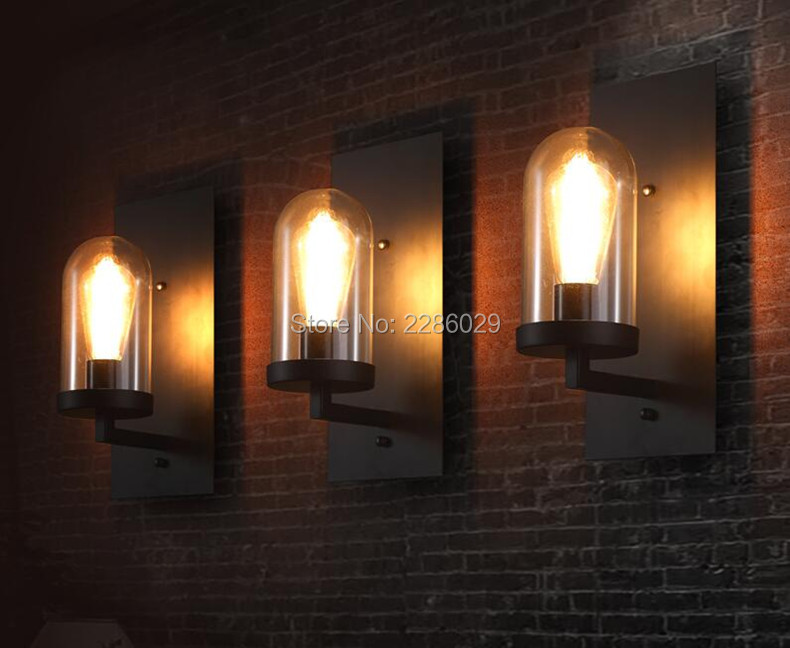 Vintage industrial country metal base glass wall light corridor