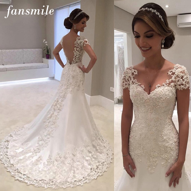 Fansmile Illusion Vestido De Noiva White Backless Lace Mermaid Wedding Dress 2019 Short Sleeve Wedding Gown Bride Dress