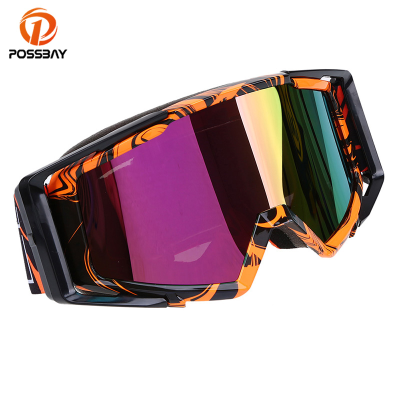 POSSBAY Man Women Cooling Motorcycle Goggles Glasses Skiing Motocross Goggles Helmet Punk Cycling Motorbike Eyewear