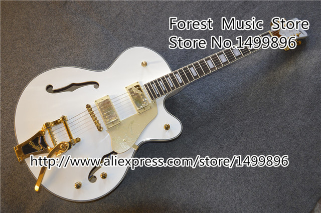 Cheap Best Price For White Falcon Hollow Guitar Body Gret. Electric Jazz Guitar With Golden Hardware Free Shipping