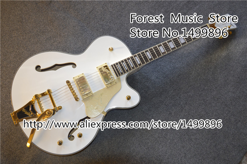 Best Price For White Falcon Hollow Guitar Body Gret. Electric Jazz Guitar With Golden Hardware Free Shipping one piece trendy rhinestone hollow out heart ear cuff for women