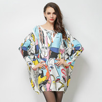 The spring of 2018 the new fat mm large size ladies sweaters smiling face printed graffiti wool blended sweater coat female