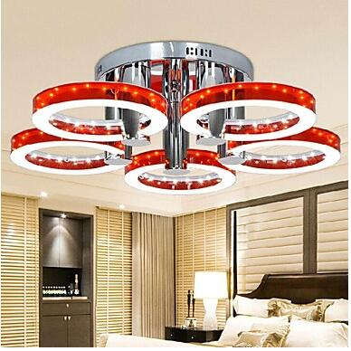 90W Modern LED Red Acrylic Chandelier with 5 lights (Chrome Finish) lamp LED light pendant 110-220V