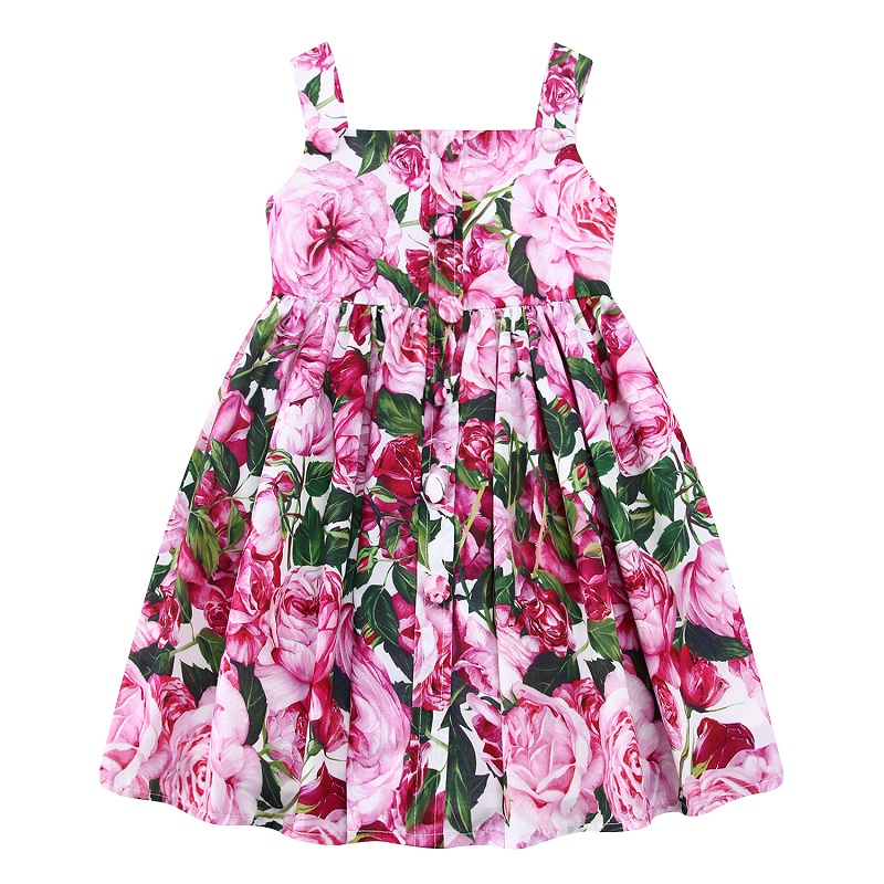 Children Girl Dress Summer 2017 Brand Pink Cotton Princess Dresses for Girl Printing Flower Girl Dress Kids Clothing with Button summer 2017 new girl dress baby princess dresses flower girls dresses for party and wedding kids children clothing 4 6 8 10 year