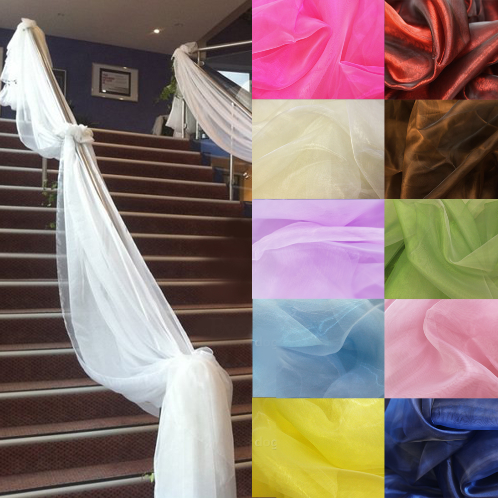 500CM*135CM Sheer Organza Multi Use Wedding Chair Sash Bow Table Runner Swag Decorations