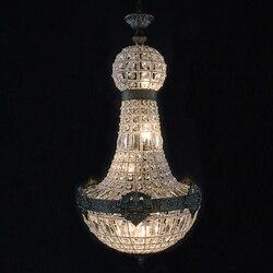 Retro Vintage duże okrągłe imperium francuskie styl led E14 kryształowy żyrandol nowoczesny 6 światła lustre lampa do salonu lobby hotelu w Żyrandole od Lampy i oświetlenie na