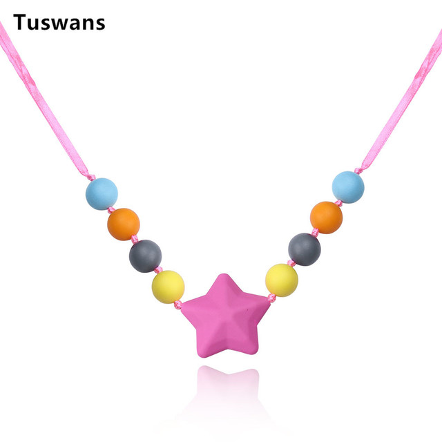 Tuswans pink star food grade silicone beads teething pendant tuswans pink star food grade silicone beads teething pendant necklace baby teether silicone beads for teething mozeypictures Gallery