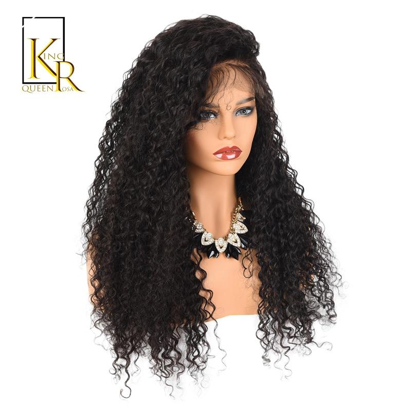 Вьющиеся Синтетические волосы на кружеве Человеческие волосы Искусственные парики для Для женщин бразильский Реми черный Кружево парик 150% плотность предварительно сорвал с ребенком король волос Rosa queen