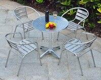 Открытый нержавеющей стали сочетание Простой Досуг алюминиевая Патио балконные стулья и набор мебели для столовой