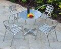 Combinación de acero inoxidable al aire libre de ocio simple balcón sillas y mesa de muebles de aluminio del patio conjunto