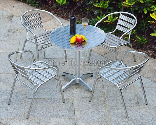 Фото Outdoor stainless steel combination of simple leisure aluminum patio balcony chairs and table furniture set