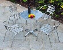 Открытый нержавеющей стали сочетание простого отдыха алюминиевый патио балкон стулья и стол мебель