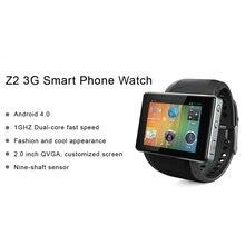 Mode z2 3G Android 4.0 OS Smartwatch Bluetooth Uhr Mode Mini Smartphone Handy Pedometer Hohe Qualität Kamera