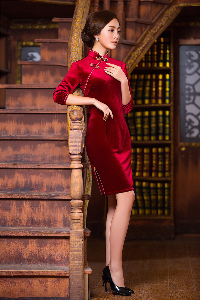 Dress up chinese - Red Chinese Dress Traditional Cheongsam Stand Collar Knee Length Chinese Style Vintage Qipao Chinese Oriental Dresses