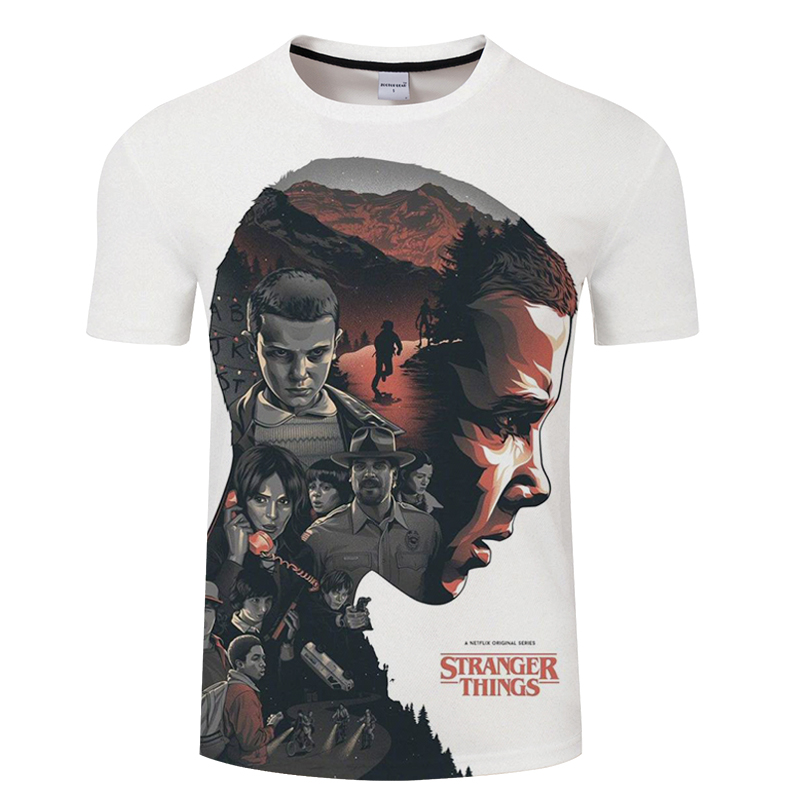 New Fashion Stranger Things Print Funny Men T-Shirt 3D Character Design Mens T Shirt Summer Hipster Top Homme Tees Asian size