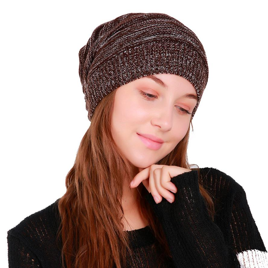 Fashion Women Warm Caps Baggy Weave Crochet Winter Wool Knit Ski Beanie Skull Caps Hat breathable mesh Fur Winter Earflap Keep