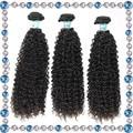 Indio virginal del pelo rizado afro rizado pelo rizado natrual negro 100 sew en extensiones del pelo humano las mujeres negras rizado armadura del pelo humano