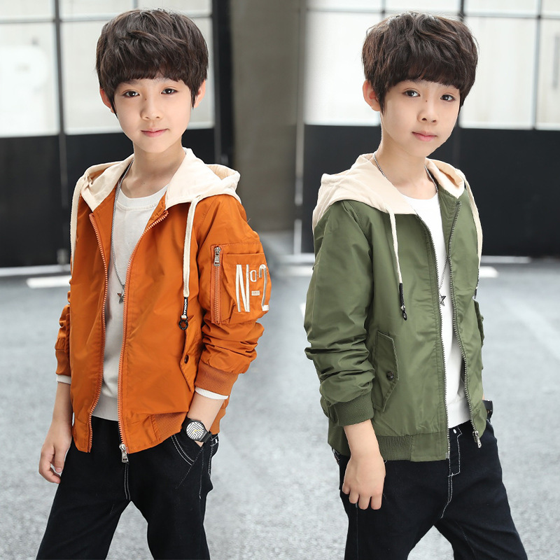 Kids Boy Jacket Coat Spring Autumn Hooded Windbreaker Outfits Children Outerwear Costume Baby Clothes Clothing for 10 12 13 Year spring outfits for kids