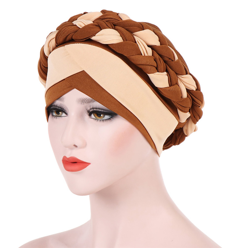 2018 Fashion New Women Hairbraid India Africa Muslim Stretch Turban Cotton Hair Loss Head Scarf Wrap Cap Casual Hot Sale #L26 (16)