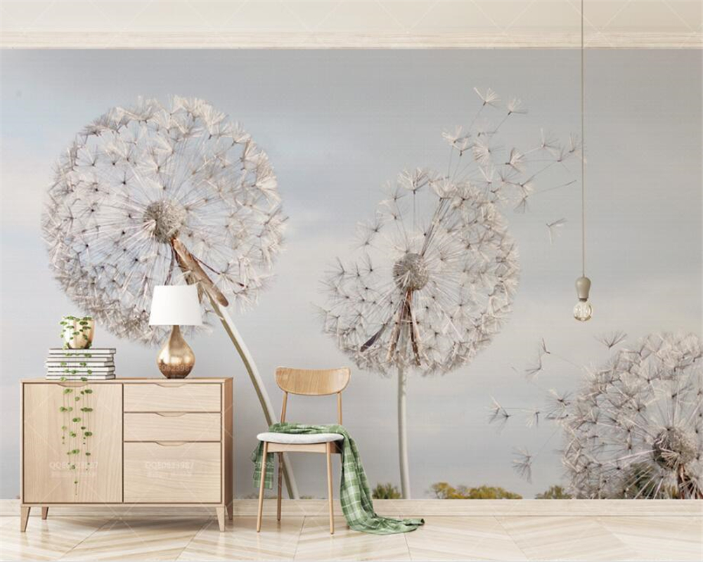 Beibehang Custom Wallpaper Dream Simple Dandelion Blue Sky Bedroom Living Room TV Background Wall 3d Wallpaper Mural Behang