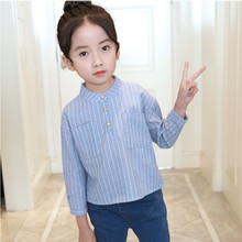 цена на DFXD 2018 Spring Baby Girl Blouse Fashion Single-breasted Striped School Shirts For Girls Toddler Children Clothes Girl Blouse