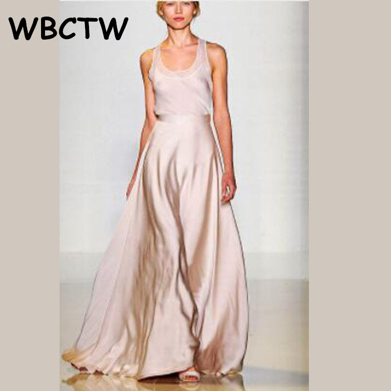 WBCTW Gonna Pantalone Satin Flare Maxi   Wide     Leg     Pants   Women High Waist Solid Pink 10XL Trousers 2019 Woman Skirt   Pants   Plus Size