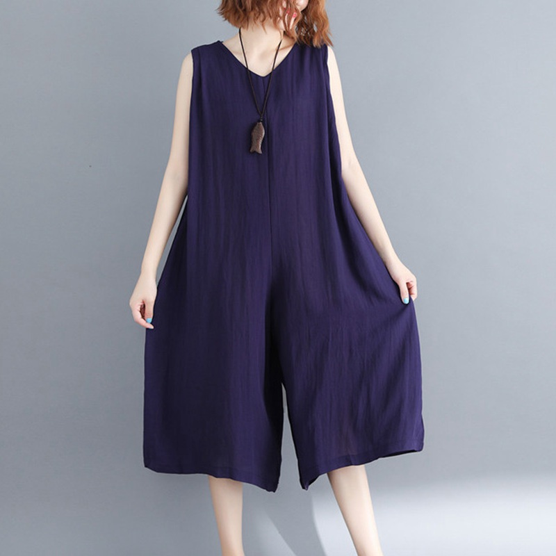 33ea48fe84f Mferlier Summer Elegant Sleeveless Jumpsuit Women Solid V Neck Sashes Loose  Casual Slim Navy Blue Womens Jumpsuit-in Jumpsuits from Women s Clothing    ...