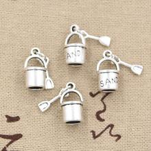 12pcs Charms Shover And Pail Beach Sand 15x8mm Antique Silver Color Pendants Making DIY Handmade Tibetan Silver Color Jewelry