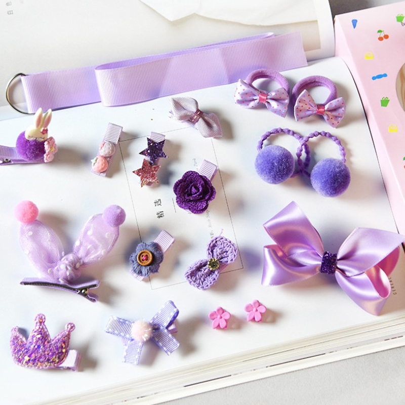18pcs Head Wear Set Child Elastic Bow Knot Hair Clips Crown Rabbit Flower Barrettes Hairpins Kids Girls Xmas Gift Jewelry #5