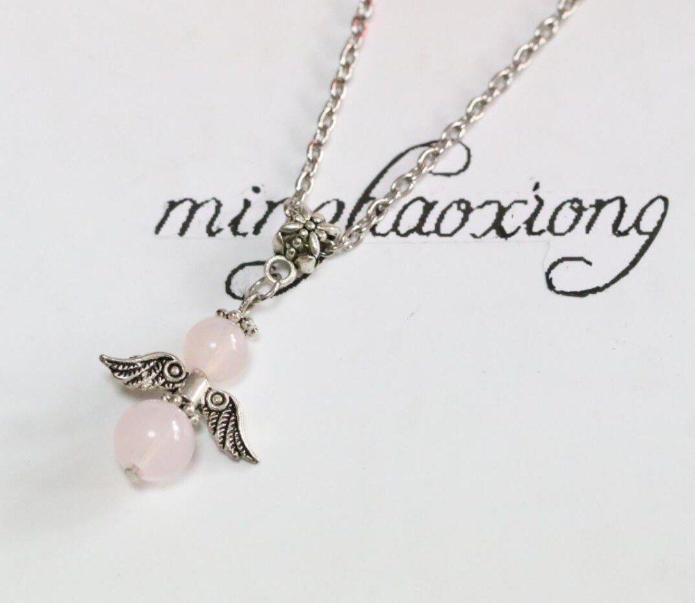 Pink Blastic Bead Rose Guardian Angel Pendant Necklace Vintage Antique Silver Charm Statement Necklace Jewelry Gift 10pcs