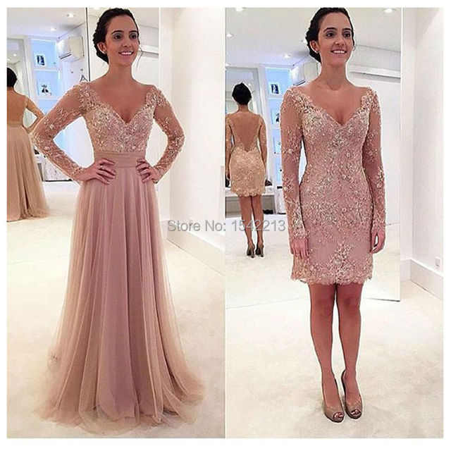 Two In One Prom Dress With Long Sleeves Lace Appliques Short Girls