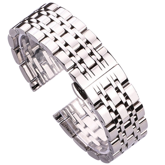 18mm 20mm 22mm Stainless Steel Watch Band Strap Silver Polished Mens Luxury Repl