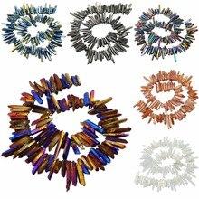 SUNYIK Titanium Coated Crystal Points Quartz Rough Sticks Spikes Point Beads 16 inch Strand Drilled