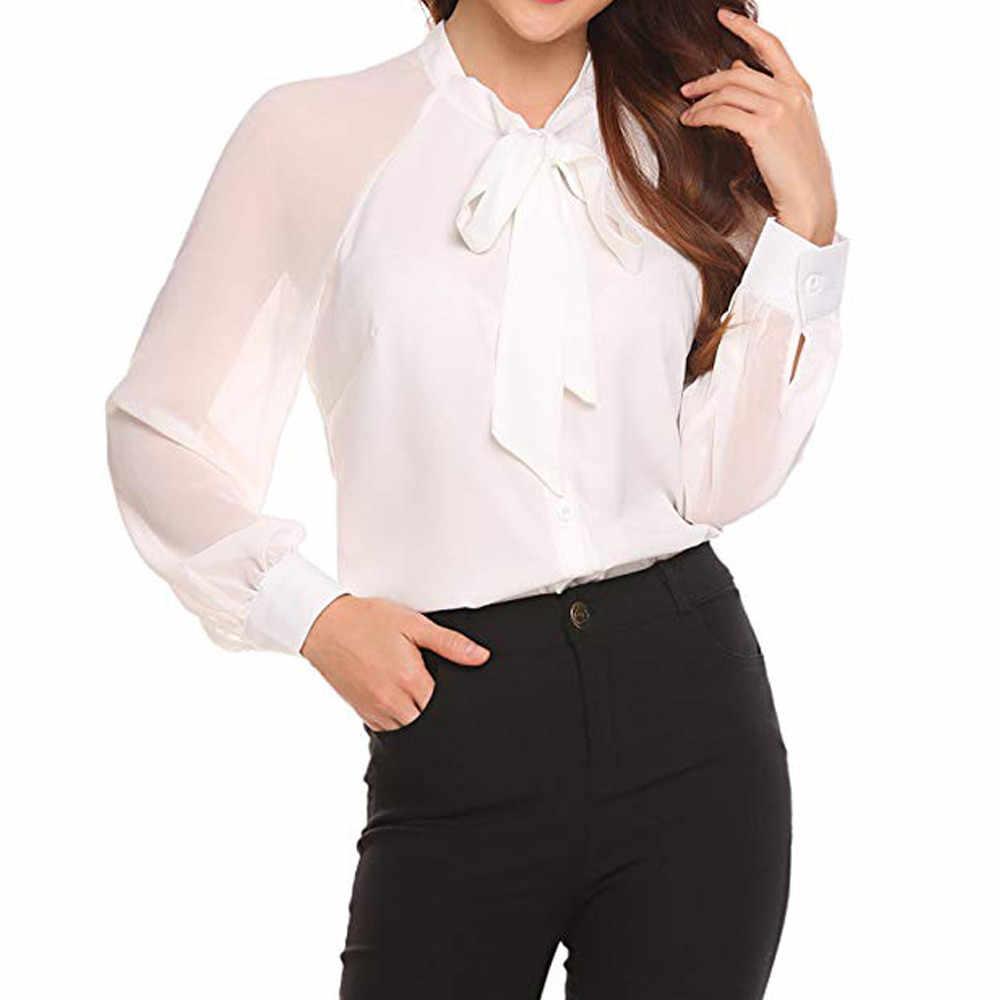 ebbc95091da9b4 Office Bow Tie Blouse Women Lantern Sleeve White Button Necktie Shirts  Female Elegant Work Shirt Casual