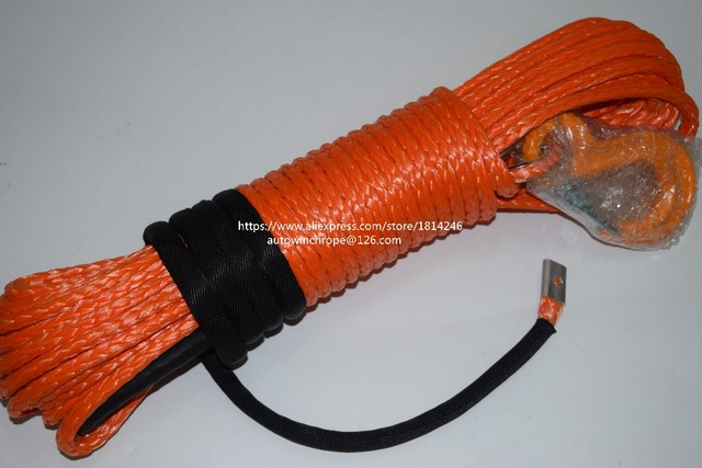 8mm*30m Orange Synthetic Winch Rope,ATV Winch Line,Off Road Rope,Towing Ropes with Hook,Plasma Rope