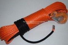 Corde de treuil synthétique Orange de 8mm * 30m, ligne de treuil datv, corde hors route, cordes de remorquage avec le crochet, corde de Plasma
